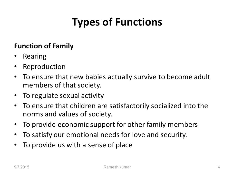 functions of the family The ever changing family has responsibilities and duties to fill, to become a physical and emotionally stable family in the past there were different responsibilities then there is today.