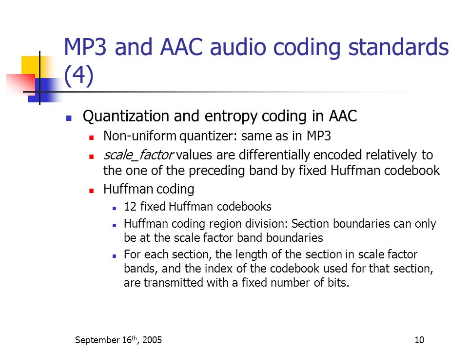 MP3 and AAC audio coding standards (4)