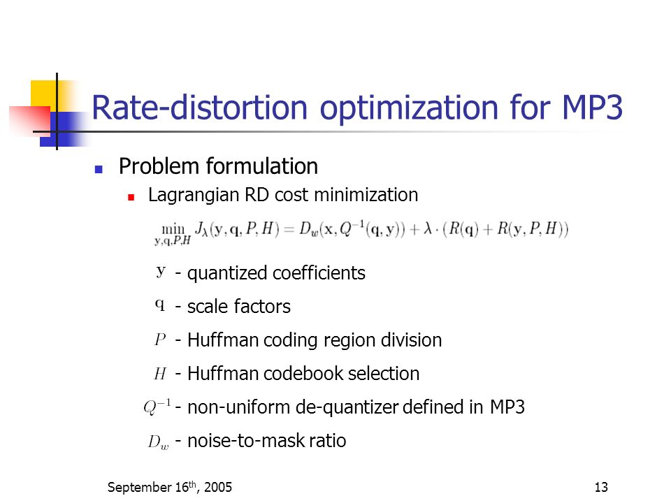 Rate-distortion optimization for MP3