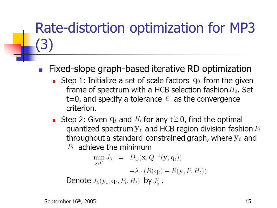 Rate-distortion optimization for MP3 (3)