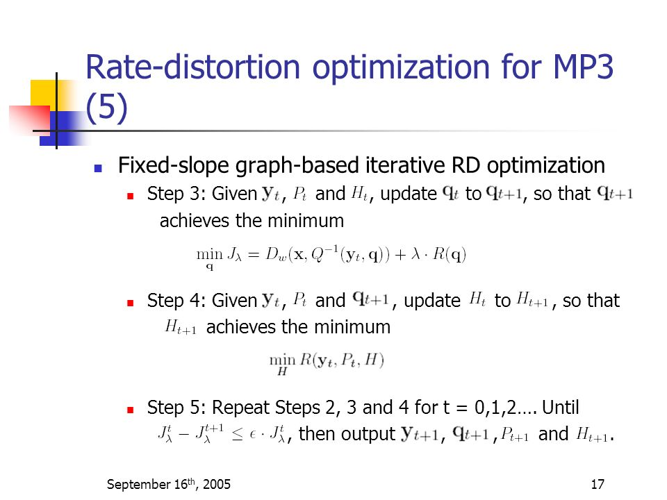 Rate-distortion optimization for MP3 (5)