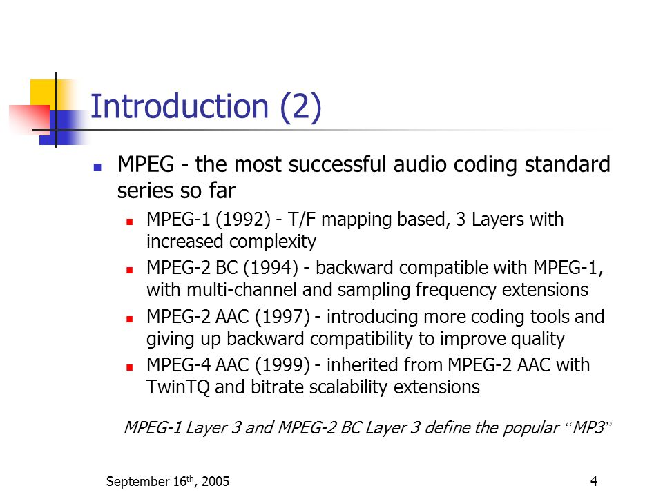 Introduction (2) MPEG - the most successful audio coding standard series so far.