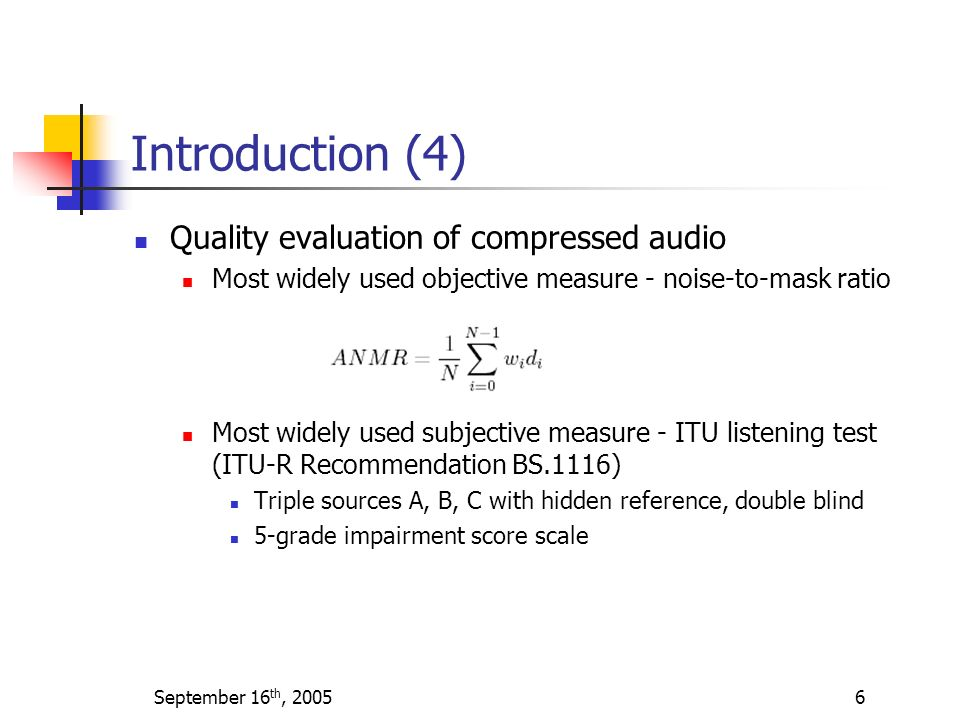Introduction (4) Quality evaluation of compressed audio