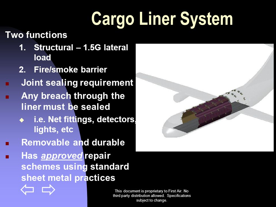 Cargo Liner System Two functions Joint sealing requirement