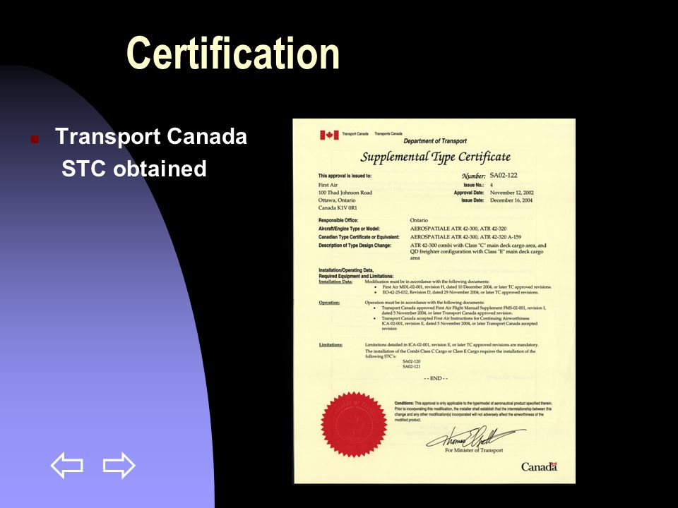 Certification Transport Canada STC obtained