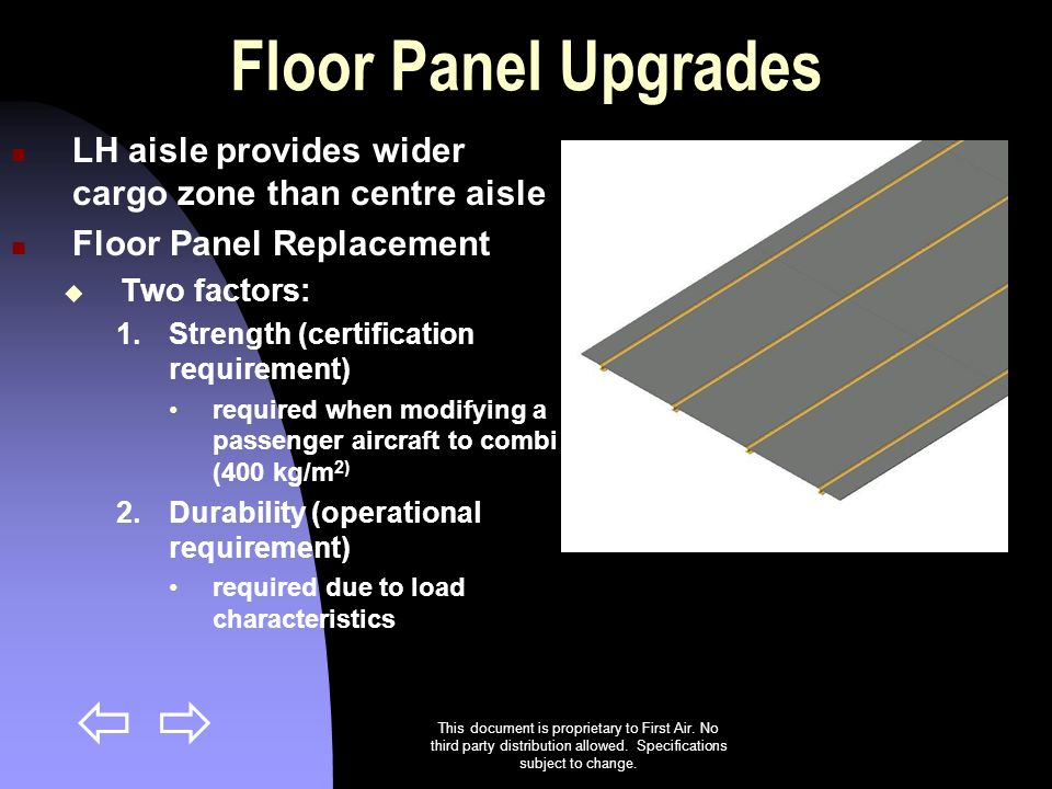 Floor Panel Upgrades LH aisle provides wider cargo zone than centre aisle. Floor Panel Replacement.