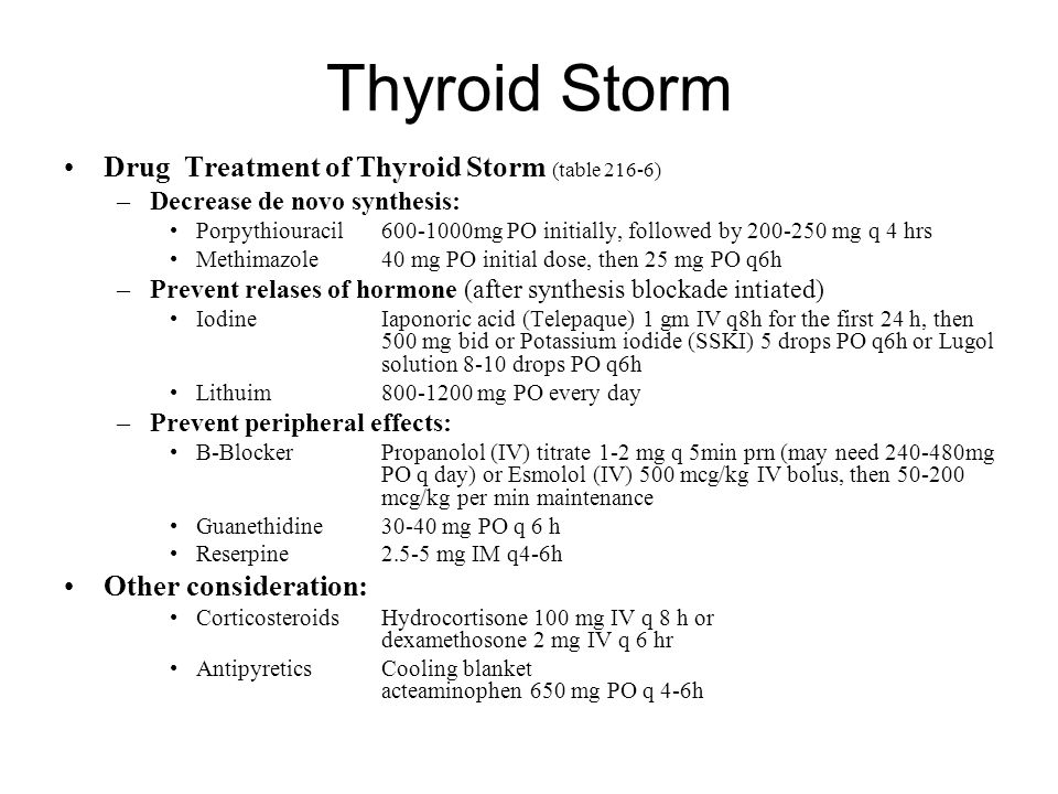 Thyroid Storm Drug Treatment of Thyroid Storm (table 216-6)