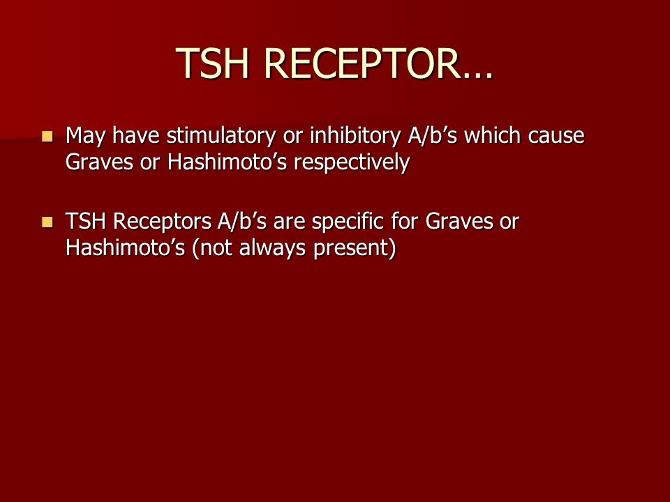 TSH RECEPTOR… May have stimulatory or inhibitory A/b's which cause Graves or Hashimoto's respectively.