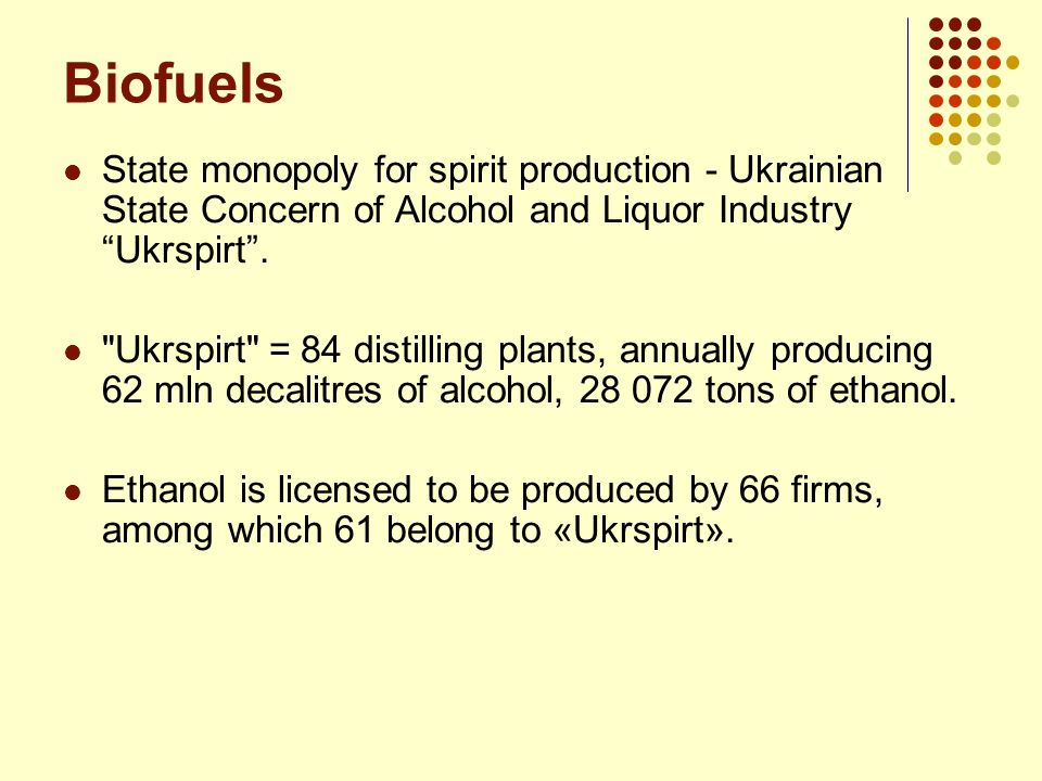 Biofuels State monopoly for spirit production - Ukrainian State Concern of Alcohol and Liquor Industry Ukrspirt .