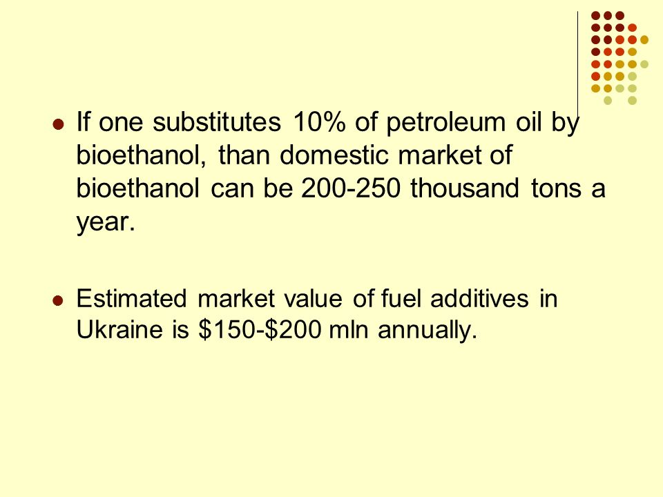 If one substitutes 10% of petroleum oil by bioethanol, than domestic market of bioethanol can be 200-250 thousand tons a year.