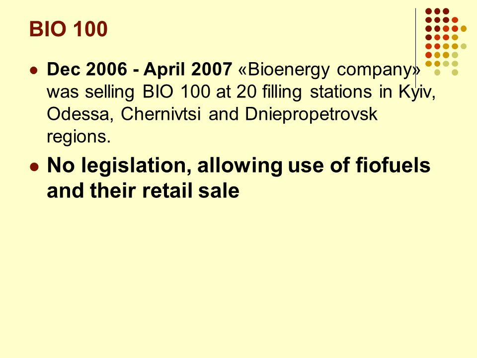 No legislation, allowing use of fiofuels and their retail sale