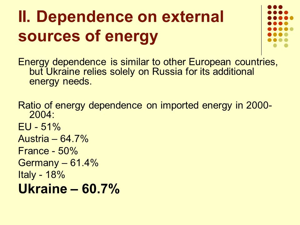 II. Dependence on external sources of energy