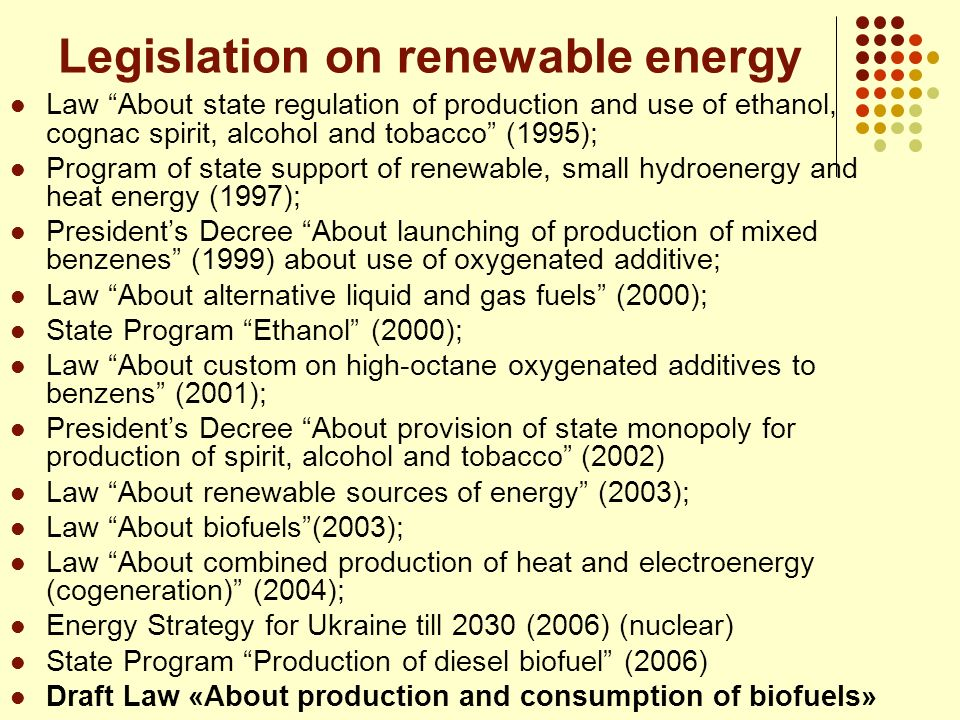 Legislation on renewable energy