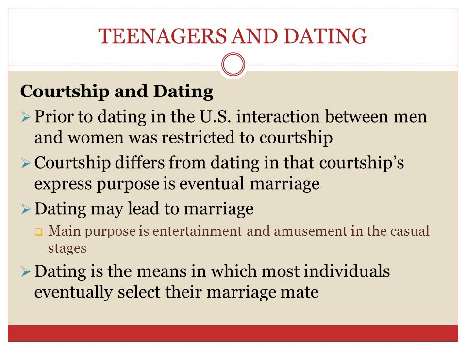 compare the main purpose of courtship to that of dating Compare contrast internet dating vs  the other member within the context of dating or courtship,  main relative dating method -is the study of.