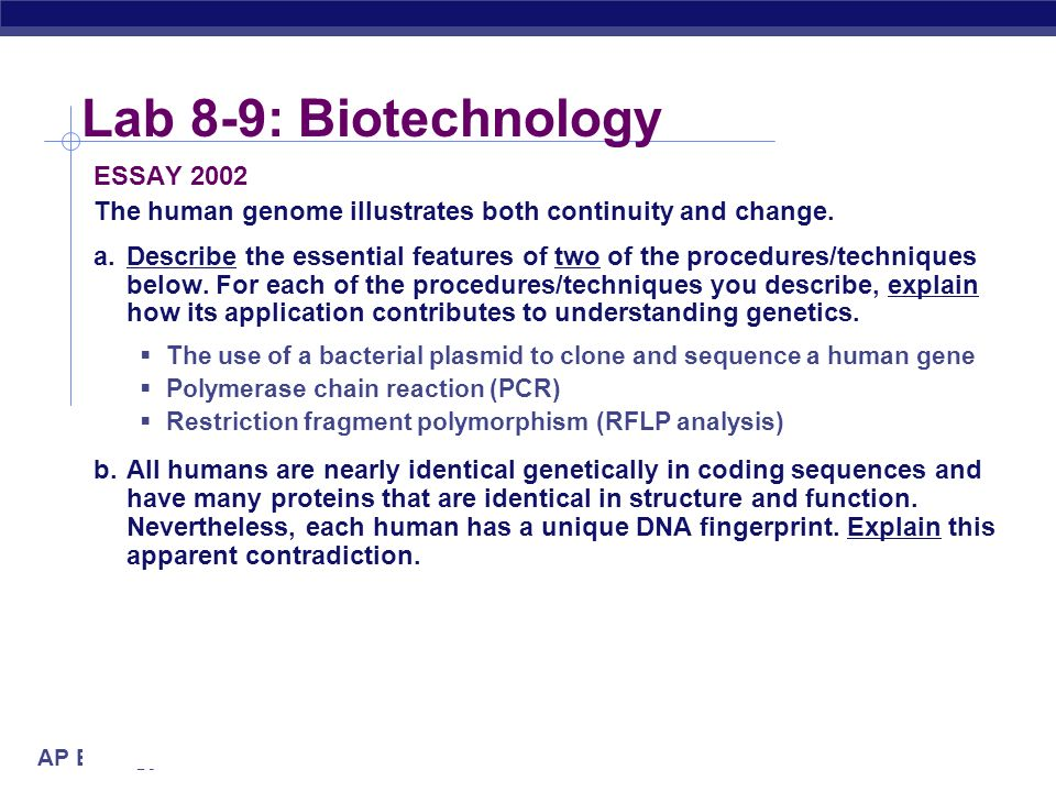 essay 2002 the human genome illustrates both continuity and change Biology 2002 ap® biology free-response questions biology section answers must be in essay the human genome illustrates both continuity and change.