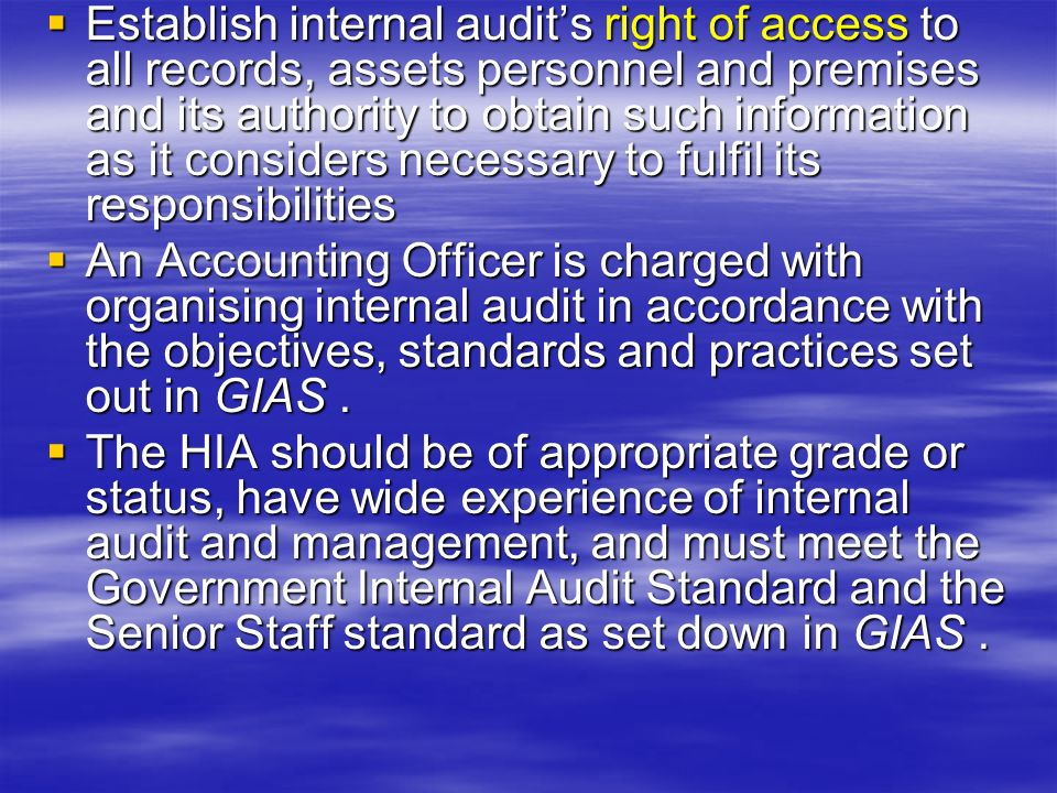 Internal Control and Management Involvement