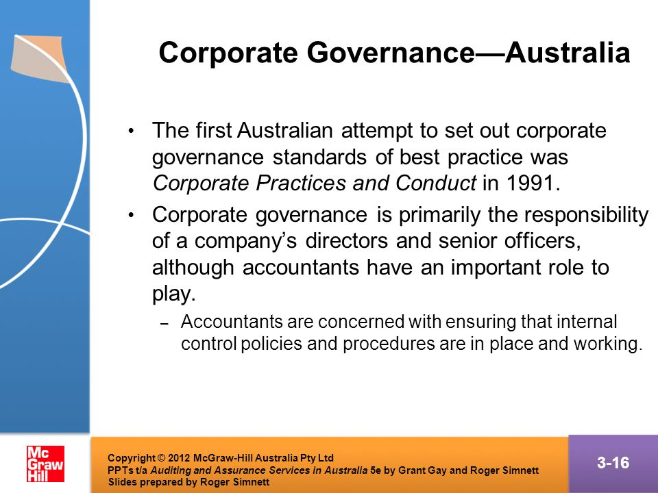 corporate governance in australia The past two decades has seen corporate governance take an increasingly  prominent role within the australian business environment in the.