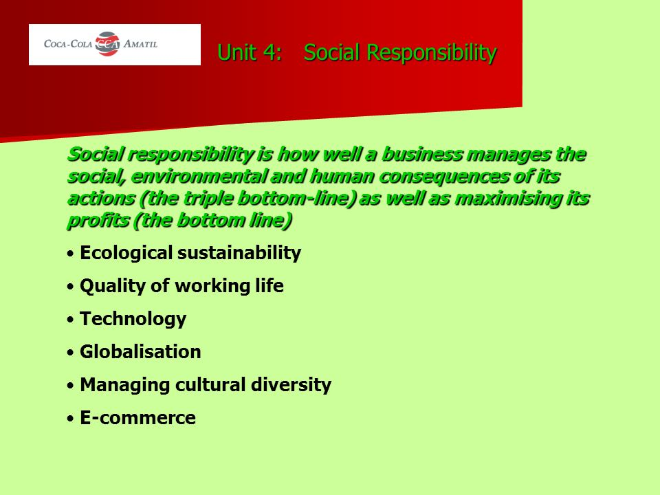 corporate social responsibility unit 4 The corporate social responsibility & citizenship chapter of this course is designed to help you plan and teach techniques used for making ethical.