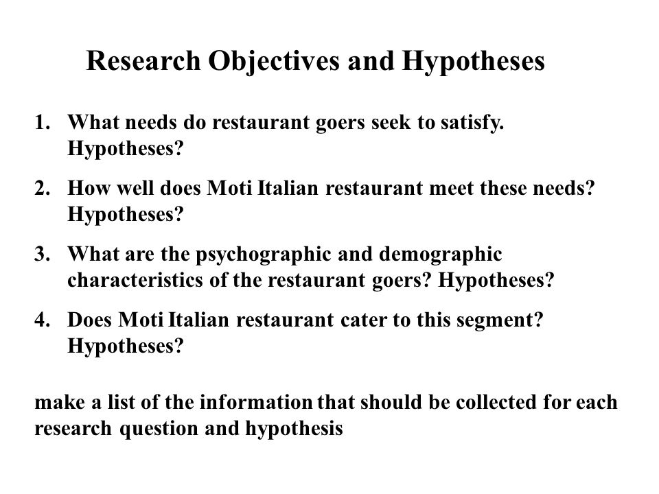 define research hypothesis A hypothesis is a tentative statement about the relationship between two or more variables learn more about the elements of a good hypothesis.