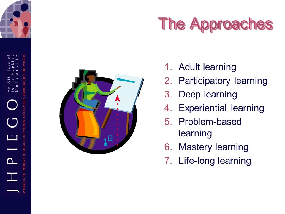 The Approaches Adult learning Participatory learning Deep learning