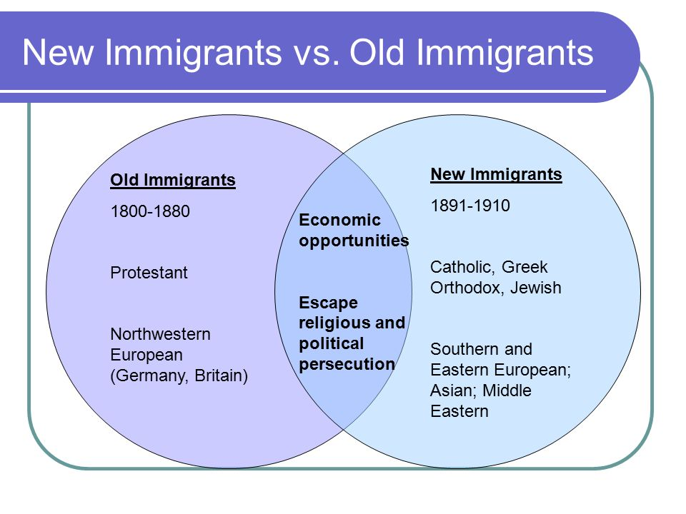 old immigrants vs new immigrants compare and contrast Immigration amnesty helps support and forgives those immigrants who show good character rewarding them with legal status in our country on the other hand, advocates have felt that illegal immigrants have committed a crime and should also be punished other countries are communist or.