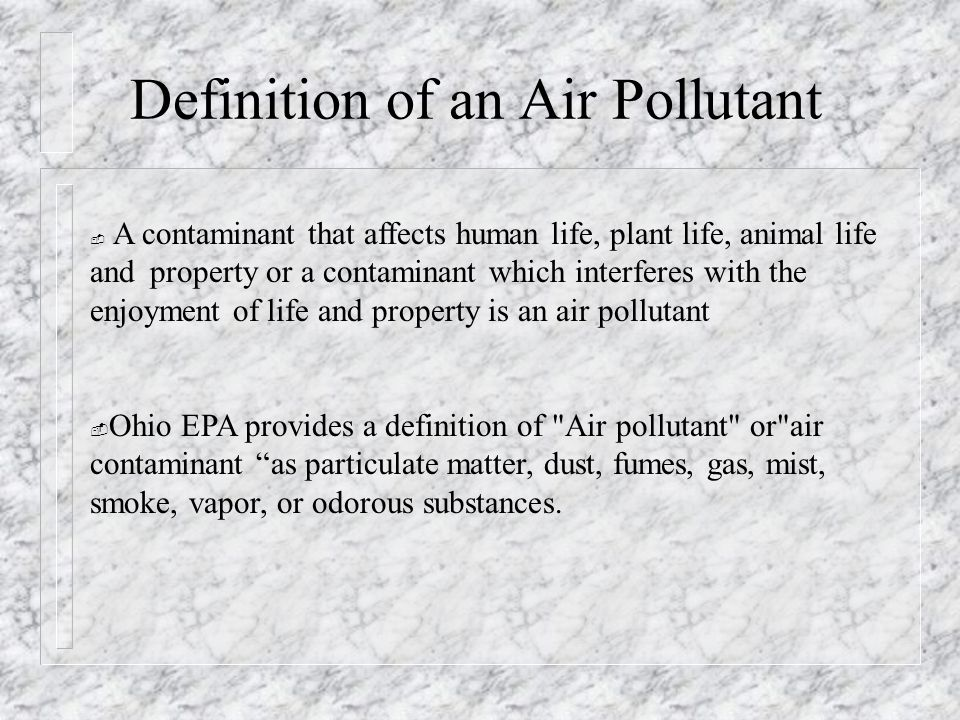 definition of air pollution Freebase (300 / 2 votes) rate this definition: air pollution air pollution is the introduction into the atmosphere of chemicals, particulates, or biological materials that cause discomfort, disease, or death to humans, damage other living organisms such as food crops, or damage the natural environment or built environment.