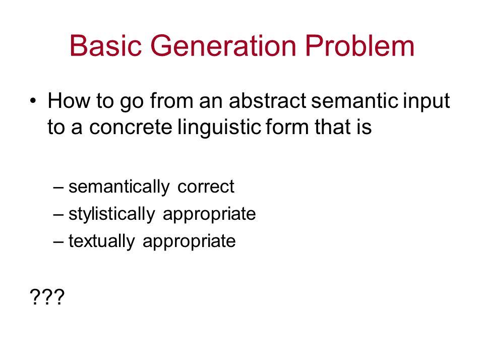 Basic Generation Problem