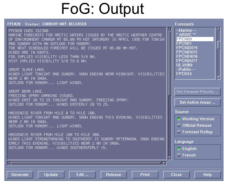 FoG: Output