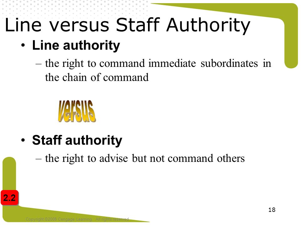 difference between line and staff authority Resources fits into an organization chapter overview after reading this chapter the difference between line and staff in an organization is whether line or staff, there is a line of authority that runs downward from.