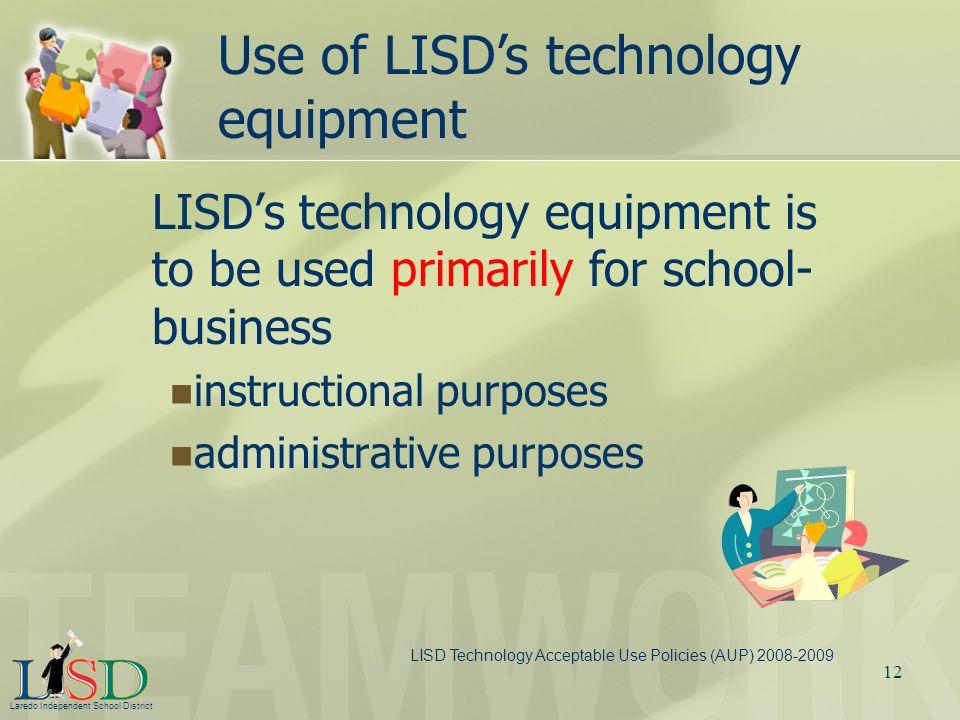 Use of LISD's technology equipment