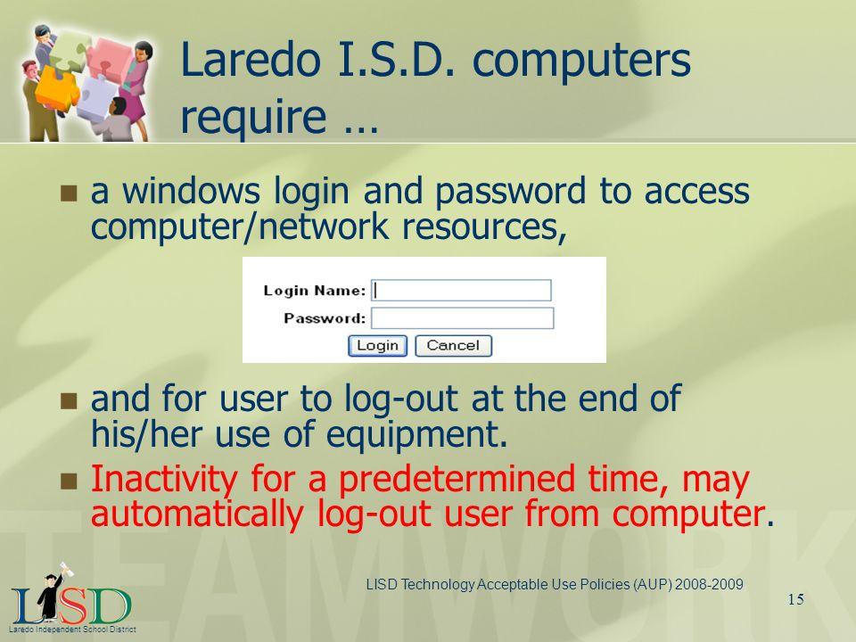 Laredo I.S.D. computers require …