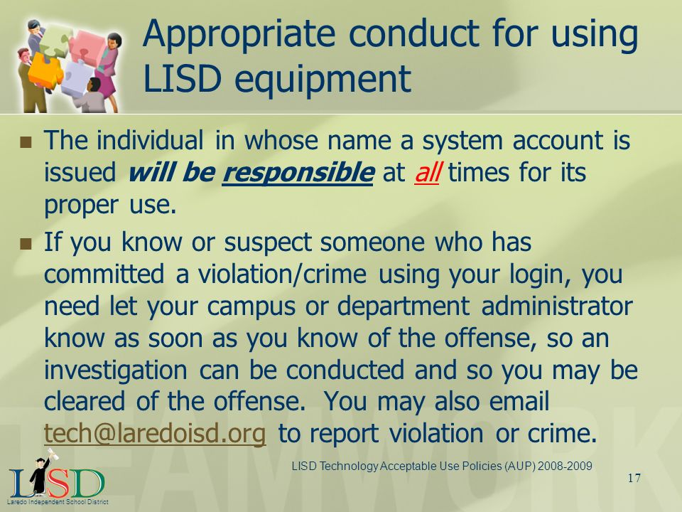 Appropriate conduct for using LISD equipment