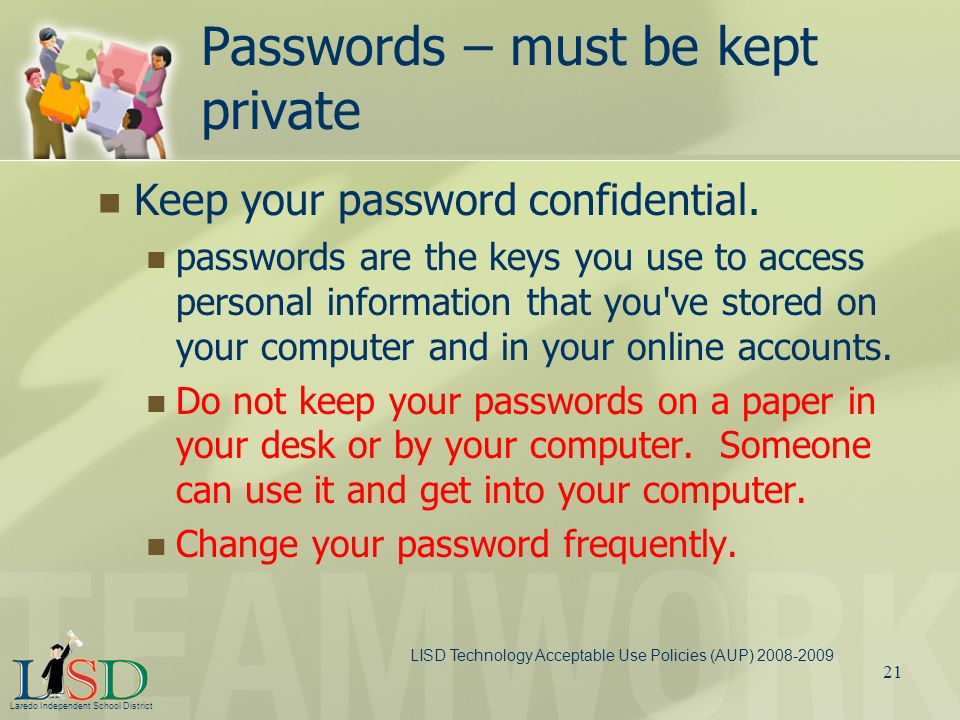 Passwords – must be kept private