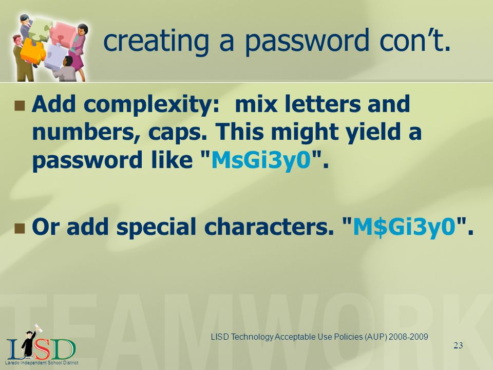 creating a password con't.