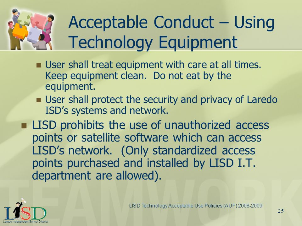 Acceptable Conduct – Using Technology Equipment