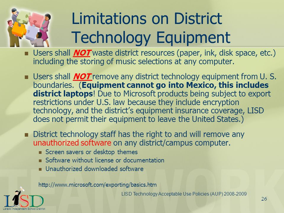 Limitations on District Technology Equipment
