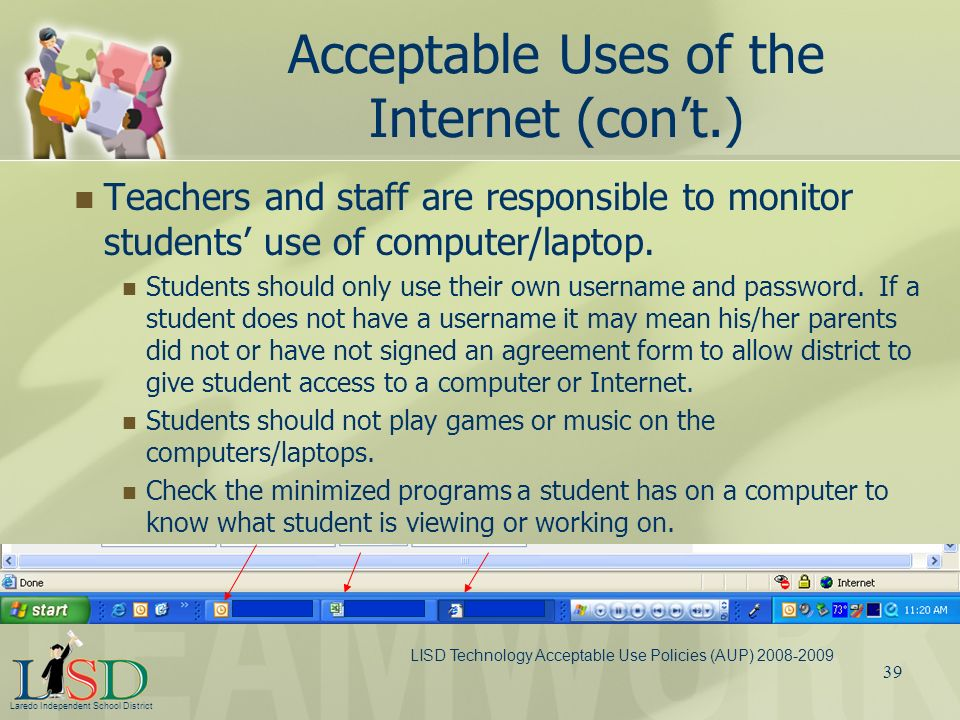 Acceptable Uses of the Internet (con't.)