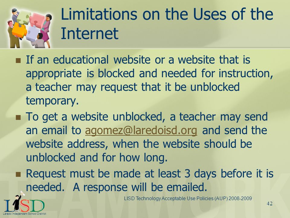 Limitations on the Uses of the Internet