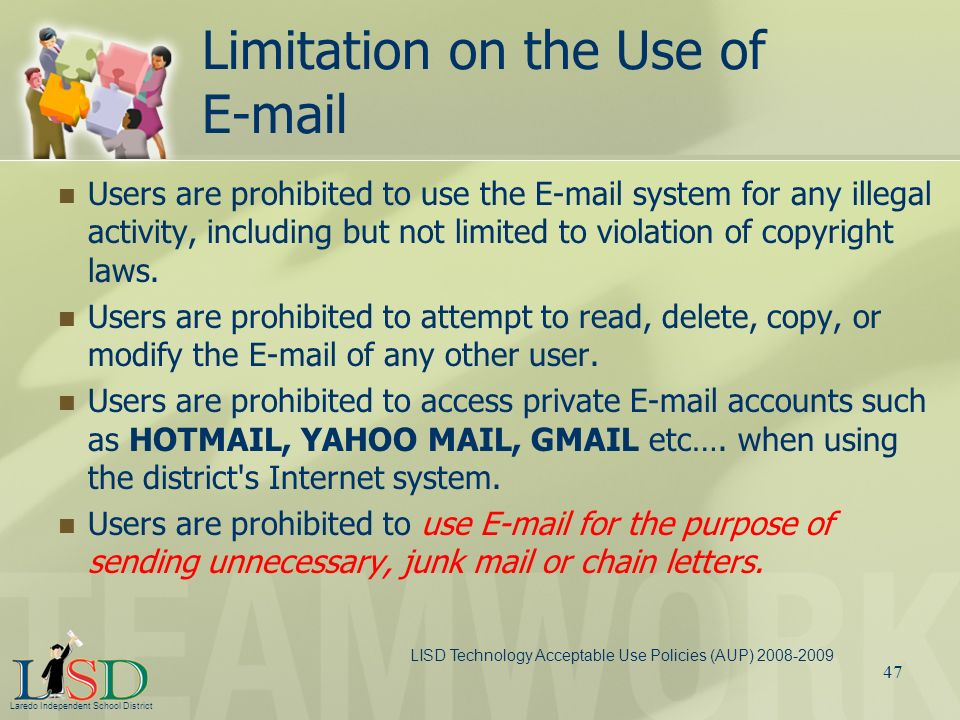Limitation on the Use of E-mail