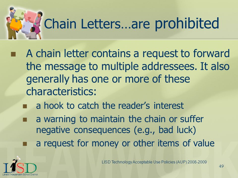 Chain Letters…are prohibited