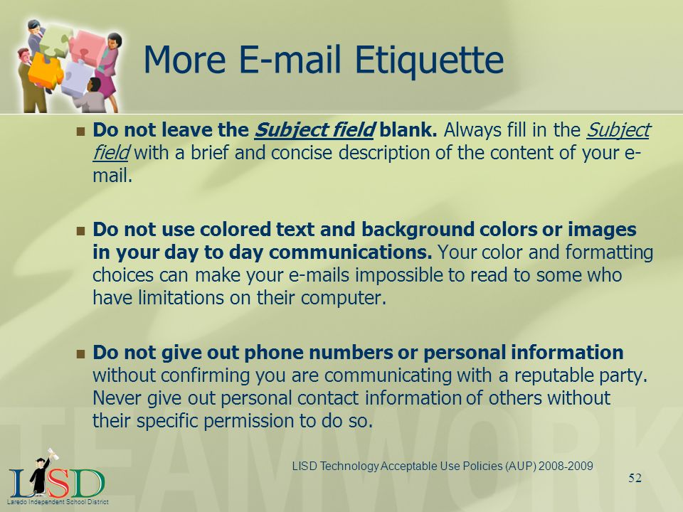 More E-mail Etiquette