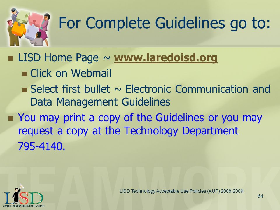 For Complete Guidelines go to: