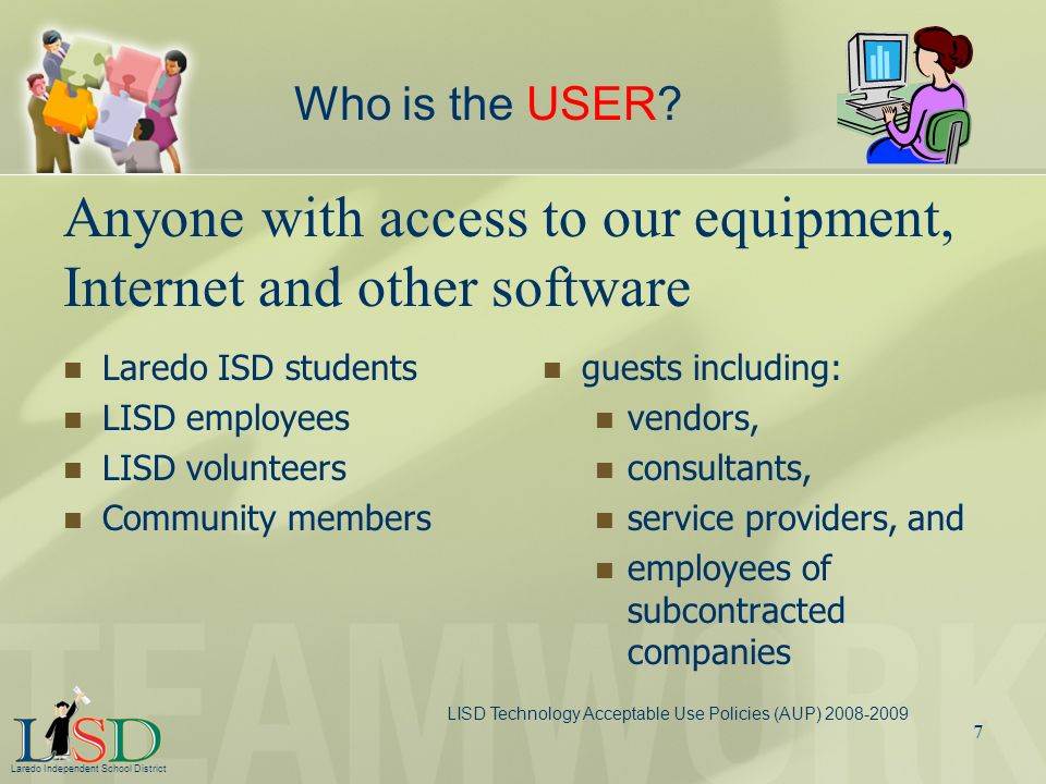 Anyone with access to our equipment, Internet and other software