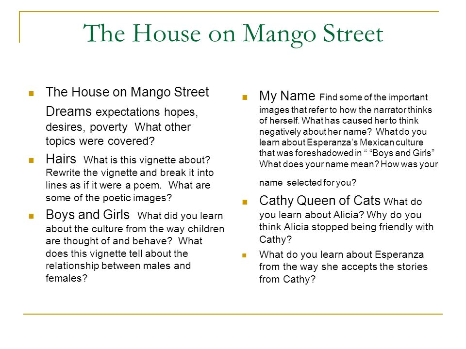 the house on mango street writing Personal vignette the house on mango street this is the narrative writing assignment for the unit the objective is to understand cisneros' unique narrative style through mimicry you are to.