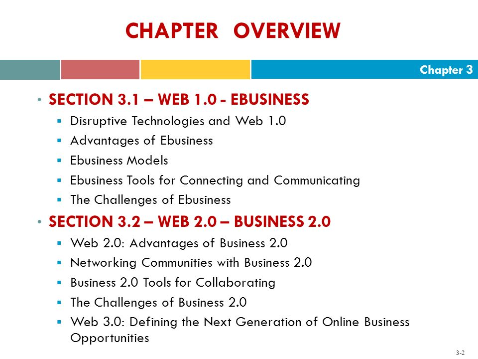 CHAPTER OVERVIEW SECTION 3.1 – WEB 1.0 - EBUSINESS