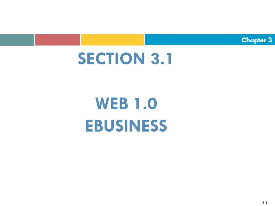 SECTION 3.1 WEB 1.0 EBUSINESS