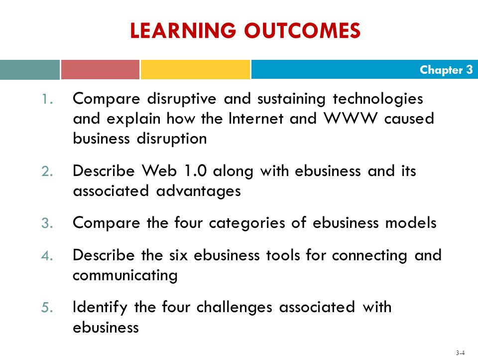 LEARNING OUTCOMES Compare disruptive and sustaining technologies and explain how the Internet and WWW caused business disruption.