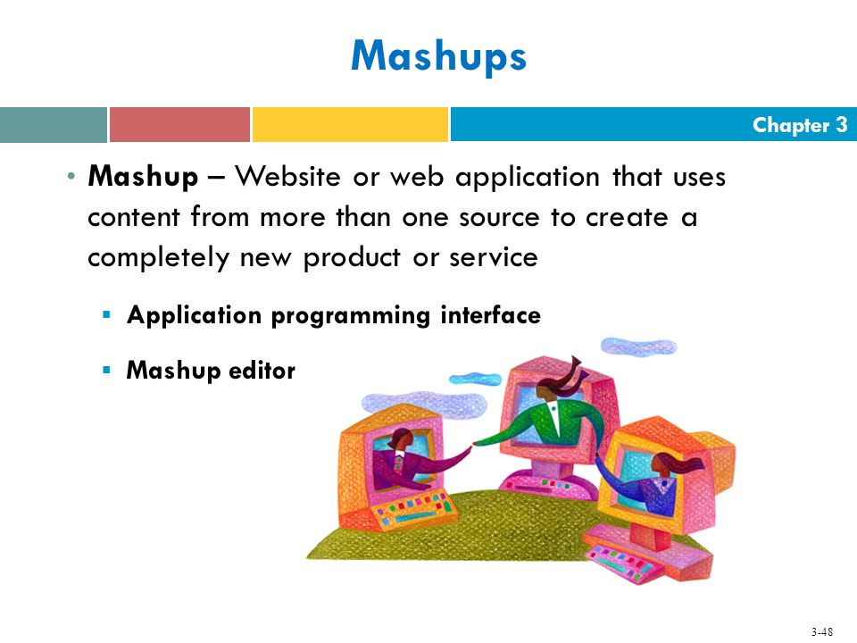 Mashups Mashup – Website or web application that uses content from more than one source to create a completely new product or service.