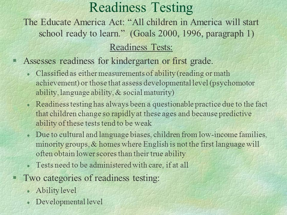Achieving the goals, Goal 1, All children in America will ...