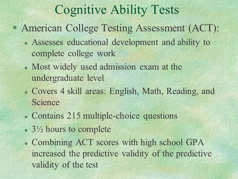 Predictive Validity of Achievement Tests